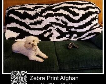 C2C Graph, Zebra Afghan, C2C Graph,  Written Word Chart, zebra graph, zebra c2c, c2c afghan