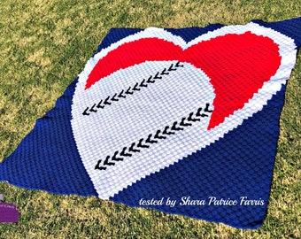 Baseball Heart Afghan C2C Crochet Pattern, Written Row by Row Counts, C2C Graphs, Corner to Corner Crochet Pattern, Graphgan, Baseball C2C