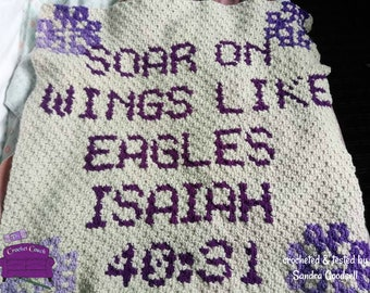 Isaiah 40:13 Afghan, C2C Crochet Pattern, Written Row by Row, Color Counts, Instant Download, C2C Graph, C2C Pattern