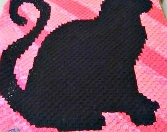 Cat Silhouette Afghan, C2C Crochet Pattern, Written Row Counts, C2C Graphs, Corner to Corner Crochet Pattern, C2C Graph