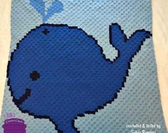 Whale of a Time Baby Afghan, C2C Crochet Pattern, Written Row by Row, Color Counts, Instant Download, C2C Graph, C2C Pattern