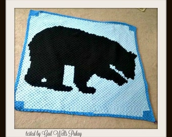 Black Bear Afghan, C2C Crochet Pattern, Written Row Counts, C2C Graphs, Corner to Corner Crochet Pattern, C2C Graph