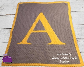 Letter A Twin Afghan, C2C Crochet Pattern, Written Row Counts, C2C Graphs, Corner to Corner, Crochet Pattern, C2C Graph