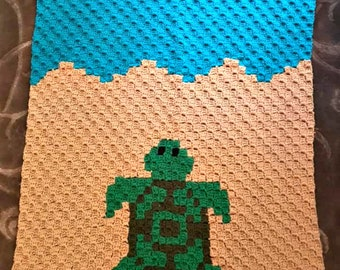 Turtle Baby Afghan, C2C Crochet Pattern, Written Row by Row, Color Counts, Instant Download, C2C Graph, C2C Pattern, Graphgan Pattern