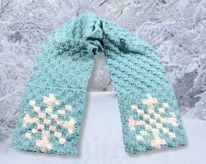 Featured listing image: Snowflake Scarf, C2C Crochet Pattern, Written Row Counts, C2C Graphs, Corner to Corner Crochet Pattern, C2C Graph