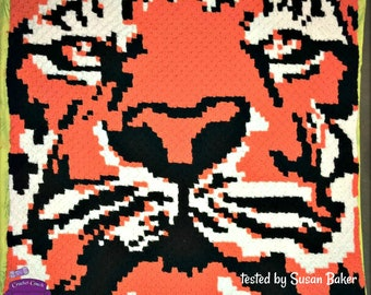 Tiger Afghan, C2C Crochet Pattern, Written Row by Row, Color Counts, Instant Download, C2C Graph, C2C Pattern, Graphgan Pattern