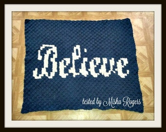 Believe Afghan, C2C Crochet Pattern, Written Row Counts, C2C Graphs, Corner to Corner, Crochet Pattern, C2C Graph