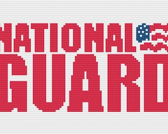 National Guard Afghan, C2C Crochet Pattern, Written Row by Row Color Counts