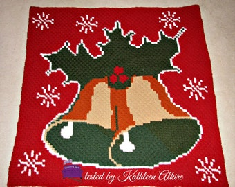 Christmas Bells Afghan, C2C Crochet Pattern, Written Row Counts, C2C Graphs, Corner to Corner, Crochet Pattern, C2C Graph