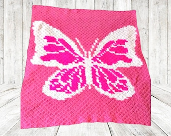 Butterfly in Pinks Afghan, C2C Crochet Pattern, Written Row Counts, C2C Graphs, Corner to Corner, Crochet Pattern, C2C Graph