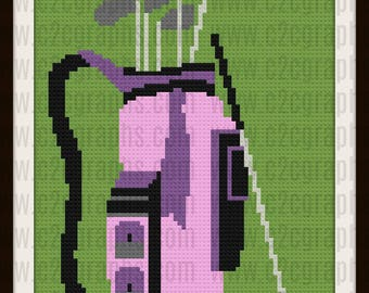 Golf Bag Afghan, C2C Graph, Crochet Pattern, Golf Bag Graph, Golf Bag pattern