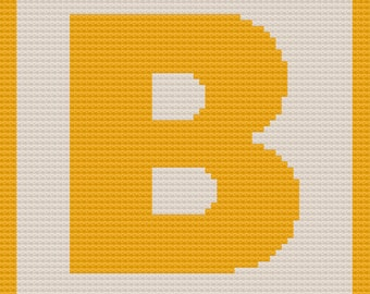 Letter B Small Block Afghan, C2C Crochet Pattern, Written Row by Row, Color Counts, Instant Download, C2C Graph, C2C Pattern, C2C Crochet