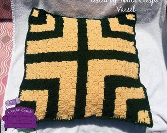 Corn Maze Pillow, C2C Crochet Pattern, Written Row by Row, Color Counts, Instant Download, C2C Graph, C2C Pattern, Crochet Pillow