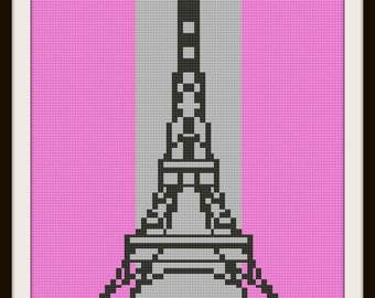 Eiffel Tower in Pink King Size Afghan, C2C Crochet Pattern, Written Row Counts, C2C Graphs, Corner to Corner, Crochet Pattern, C2C Graph