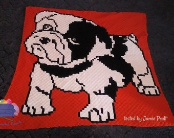 Bulldog Puppy Afghan, C2C Crochet Pattern, Written Row by Row, Color Counts, Instant Download, C2C Graph, C2C Pattern