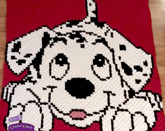 Dalmatian Puppy Afghan, C2C Crochet Pattern, Written Row by Row, Color Counts, Instant Download, C2C Graph, C2C Pattern, Graphgan Pattern
