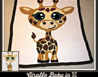 Giraffe Baby TSS Graph, SC Graph, Word Chart, Giraffe Baby Afghan, Blanket