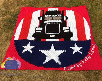 Trucker Afghan, C2C Crochet Pattern, Written Row by Row, Color Counts, Instant Download, C2C Graph, C2C Pattern, Graphgan Pattern
