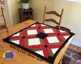 Felicia Small Quilt Afghan, C2C Crochet Pattern, Written Row by Row, Color Counts, Instant Download, C2C Graph, C2C Pattern, Graphgan
