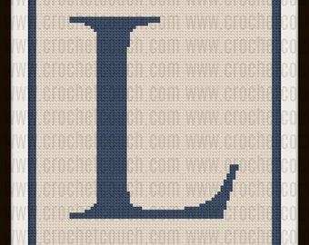 Letter L Twin Afghan, C2C Crochet Pattern, Written Row Counts, C2C Graphs, Corner to Corner, Crochet Pattern, C2C Graph
