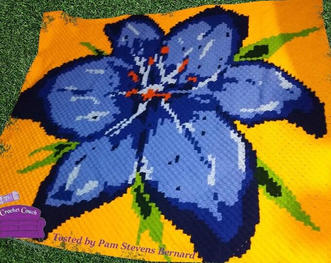 Featured listing image: Blue Stargazer Afghan, C2C Crochet Pattern, Written Row Counts, C2C Graphs, Corner to Corner, Crochet Pattern, C2C Graph