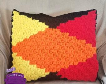 Black Diamond Pillow, C2C Crochet Pattern, Written Row by Row, Color Counts, Instant Download, C2C Graph, C2C Pattern, Crochet Pillow