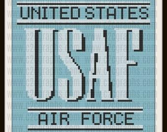 USAF Air Force Afghan, C2C Crochet Pattern, Written Row Counts, C2C Graphs, Corner to Corner, Crochet Pattern, C2C Graph