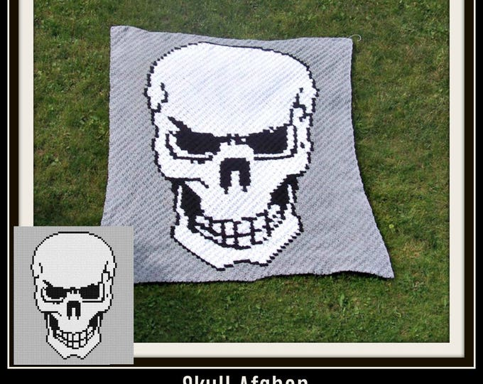 Featured listing image: Skull Afghan, C2C Crochet Pattern, Written Row Counts, C2C Graphs, Corner to Corner, Crochet Pattern, C2C Graph