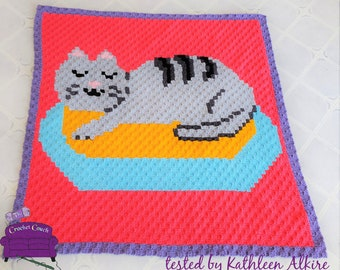Sleeping Kitty Baby Afghan, C2C Crochet Pattern, Written Row by Row, Color Counts, Instant Download, C2C Graph, C2C Pattern, Graphgan