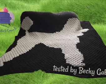 Poodle Silhouette Afghan, C2C Crochet Pattern, Written Row by Row, Color Counts, Instant Download, C2C Graph, C2C Pattern, C2C Crochet