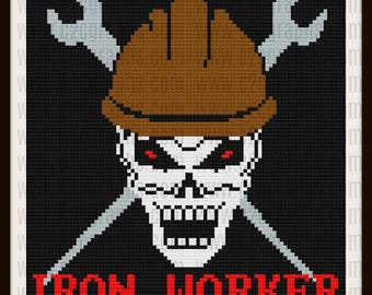 Iron Worker afghan in color, C2C Crochet Pattern, Written Row Counts, C2C Graphs, Corner to Corner, Crochet Pattern, C2C Graph