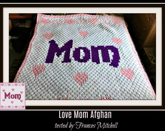 Mom Afghan, C2C Crochet Pattern, Written Row Counts, C2C Graphs, Corner to Corner, Crochet Pattern, C2C Graph
