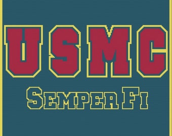 USMC Semper Fi Afghan , SC / TSS Crochet Pattern, Written Row Counts for single crochet and tunisian simple stitch