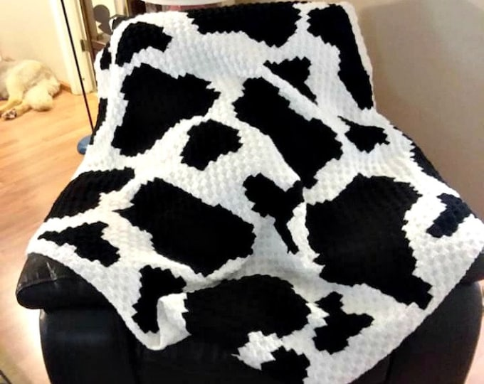 Featured listing image: Cow Print Afghan C2C Crochet Pattern, Written Row by Row Counts, C2C Graphs, Corner to Corner Crochet Pattern, Graphgan, Cow Print C2C Graph
