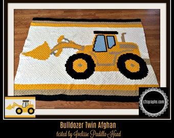 Bulldozer Afghan, C2C Crochet Pattern, Written Row Counts, C2C Graphs, Corner to Corner, Crochet Pattern, C2C Graph