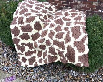 Giraffe Print Afghan, C2C Crochet Pattern, Written Row by Row, Color Counts, Instant Download, C2C Graph, C2C Pattern, C2C Crochet, Graphgan