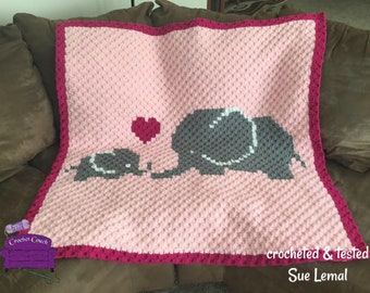 Elephant Mommy and Baby Afghan, C2C Crochet Pattern, Written Row by Row Color Counts, Instant Download