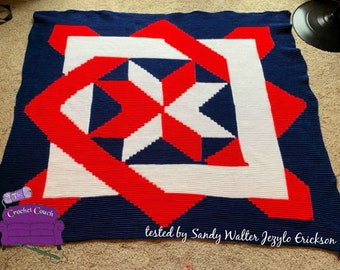 Blocked Star Quilt Afghan , SC / TSS Crochet Pattern, Written Row Counts for single crochet and tunisian simple stitch