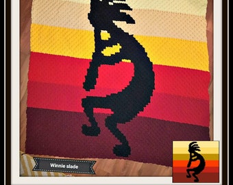 Kokopelli Afghan, C2C Crochet Pattern, Written Row Counts, C2C Graphs, Corner to Corner, Crochet Pattern, C2C Graph