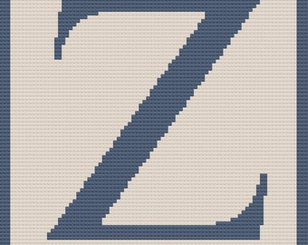 Letter Z Twin Afghan, C2C Crochet Pattern, Written Row Counts, C2C Graphs, Corner to Corner, Crochet Pattern, C2C Graph