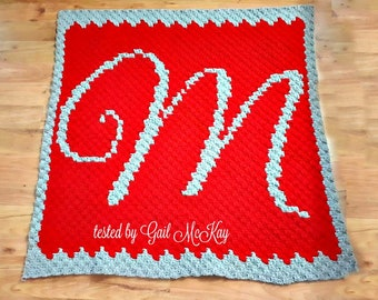 Letter M Baby Afghan C2C Crochet Pattern, Written Row Counts, C2C Graphs, Corner to Corner Crochet Pattern, Graphgan, Letter M C2C Graph