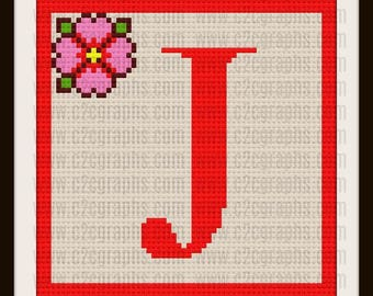 Letter J  Flower Afghan, C2C Crochet Pattern, Written Row Counts, C2C Graphs, Corner to Corner, Crochet Pattern, C2C Graph