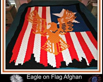 Eagle on Flag Afghan, C2C Crochet Pattern, Written Row Counts, C2C Graphs, Corner to Corner, Crochet Pattern, C2C Graph