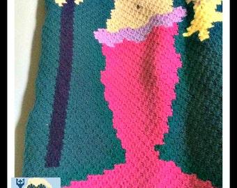 Mermaid with Trident Kids Blanket, C2C Crochet Pattern, Written Row Counts, C2C Graphs, Corner to Corner Crochet Pattern, C2C Graph