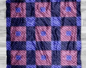 Laura Quilt Afghan C2C Crochet Pattern, Written Row by Row Counts, C2C Graphs, Corner to Corner Crochet Pattern, Graphgan, Quilt C2C Graph