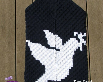 Dove Scarf, C2C Crochet Pattern, Written Row by Row, Color Counts, Instant Download, C2C Graph, C2C Pattern,  Corner to Corner