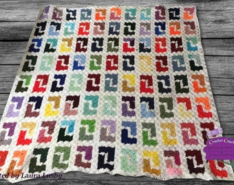 Geometric Design, Stash Buster Afghan, C2C Crochet Pattern, Written Row by Row, Color Counts, Instant Download, C2C Graph, C2C Pattern