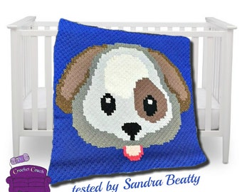 Puppy Face Baby Afghan, C2C Crochet Pattern, Written Row by Row, Color Counts, Instant Download, C2C Graph, C2C Pattern, Corner to Corner