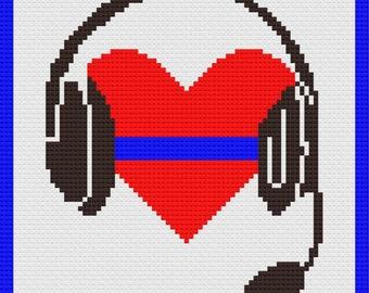 1st Call 1st Voice Blue Line Dispatcher Remembrance Afghan, C2C Crochet Pattern, Written Row Counts, C2C Graphs, Corner to Corner
