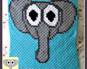 Elephant Baby Blanket, C2C Crochet Pattern, Written Row Counts, C2C Graphs, Corner to Corner, Crochet Pattern, C2C Graph